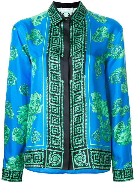 Versace Collection shirt women print blue silk top