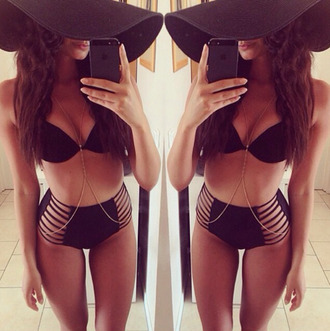 swimwear black bikini high waisted bikini top cut-out swimsuit black cut out bikini