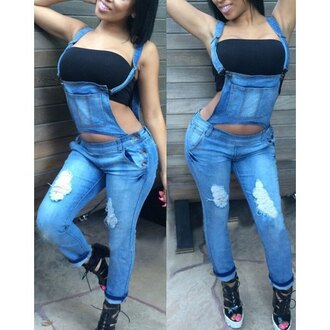 overalls denim denim overalls bandeau curvy sexy streetwear streetstyle