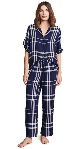 RAILS Long Sleeve Trouser Pajama Set in white
