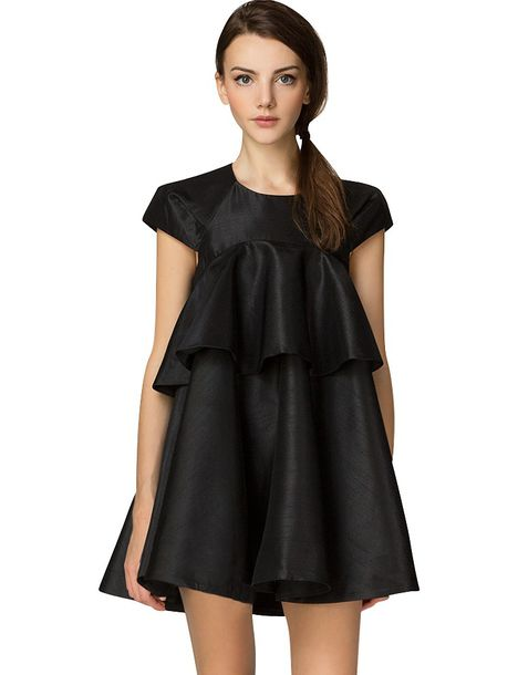 Dress: little black dress tiered ruffle dress trapeze dress ...