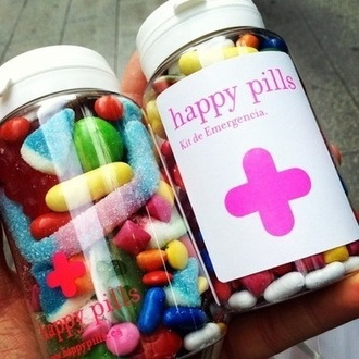 candy home accessory happy pills bonbon sweet colorful pink happy pills