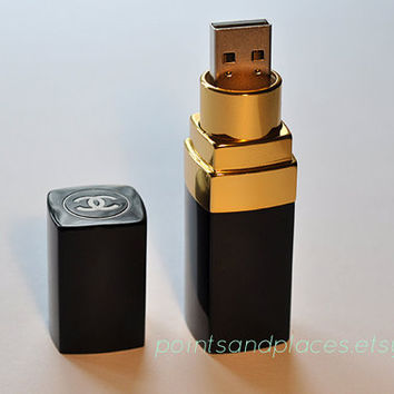 Limited Time Chanel Lipstick Flash Drive / 16 GB or 32 GB USB Memory Stick / Black / Gold on Wanelo