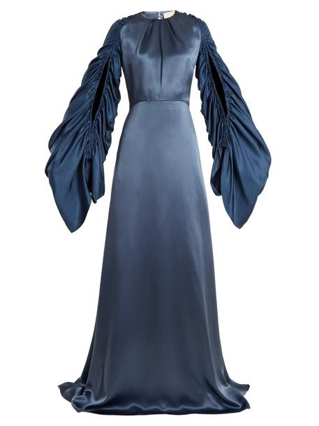 Roksanda gown back open draped navy dress