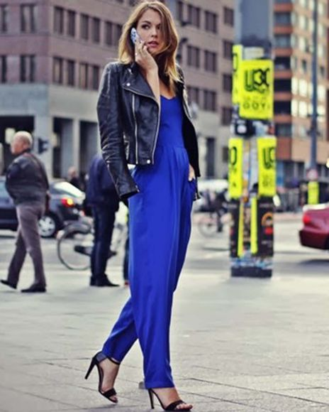 jumpsuit streetstyle pants blue jumpsuit cobalt blue jumpsuit strapless jumpsuit dress high heels city