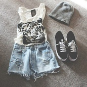 shirt,clothes,tiger,sexy,lacoste,tank top,white,shorts,vans,grey hat,denim shorts,cute,shoes,ripped shorts,platform shoes,hooded,hat,t-shirt,High waisted shorts,grey beanie,blouse,black and white tiger,black and white,high waisted denim shorts,animal tank top,crop tops,tiger shirt,top,black,plimsolls,vans of the wall,beanie,hat beanies,tumblr outfit,grey,winter hat,fashion,tiger face
