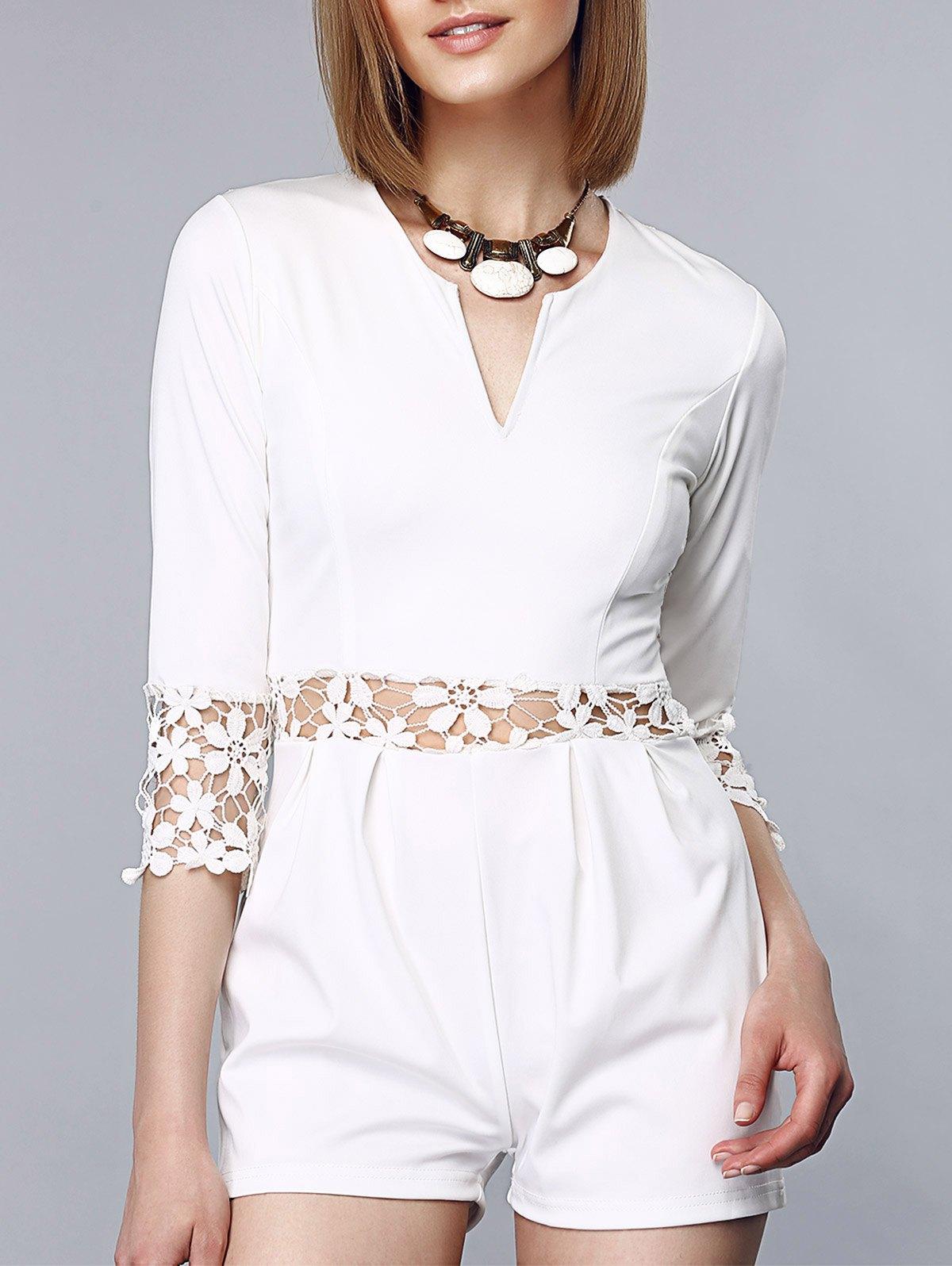 Stylish Notch Collar 3/4 Sleeves Crochet Romper For Women