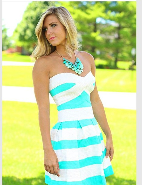 dress stripes blue and white blue dress white dress spring style fashion summer aqua and white blue bright blue stripes white strapless short dress striped dress
