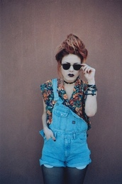jacket,overalls,hipst,indie,soft grunge,hippie,hipster,hipster punk,grunge,jewels,nail polish,blouse,romper,sunglasses