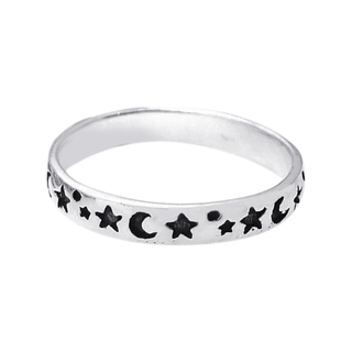 Evening Sky Moon and Star Band Sterling Silver Ring (Thailand) | Overstock.com Shopping - The Best Deals on Rings