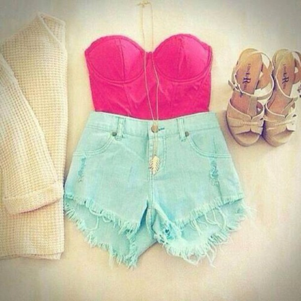 cardigan top shorts shirt strapless High waisted shorts shoes