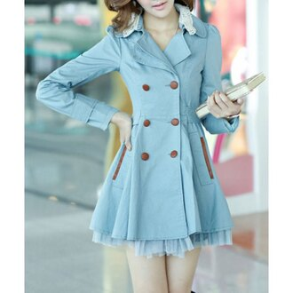 jacket coat blue trendy girly fall outfits summer fashion trench coat trendsgal.com