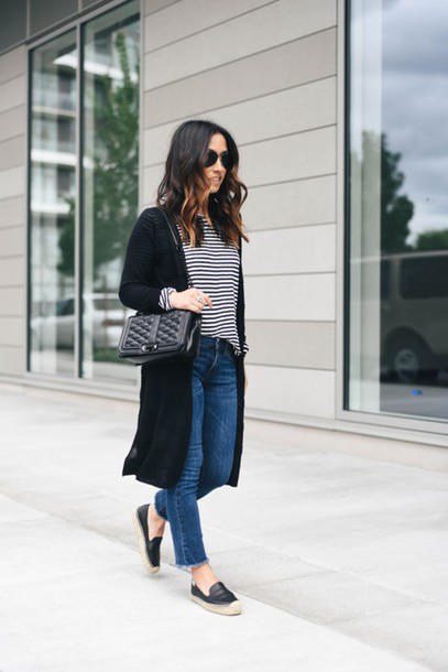 crystalin marie blogger t-shirt cardigan jeans bag shoes