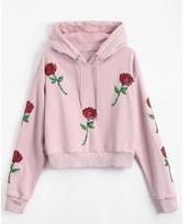 sweater,embroidered,girly,pink,rose,roses,hoodie,sweatshirt