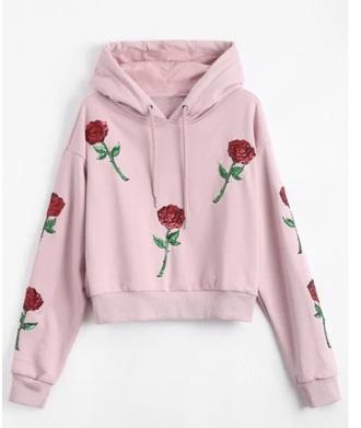 sweater embroidered girly pink rose roses hoodie sweatshirt