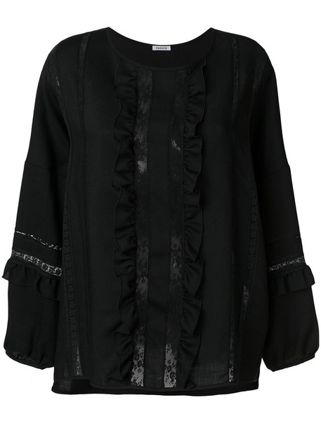 P.A.R.O.S.H. P.A.R.O.S.H. - lace and frill top - women - Cotton/Polyamide/Virgin Wool - S, Black, Cotton/Polyamide/Virgin Wool