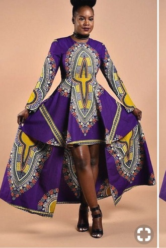 dress dashiki purple pattern