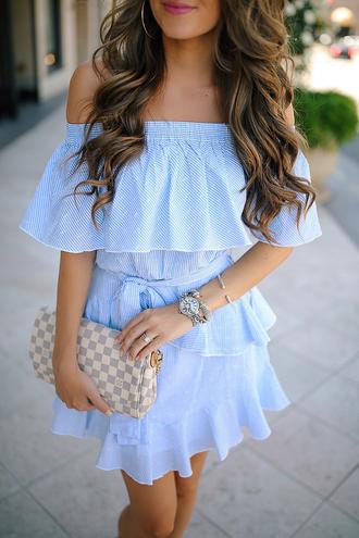dress tumblr off the shoulder off the shoulder dress blue dress ruffle ruffle dress bag