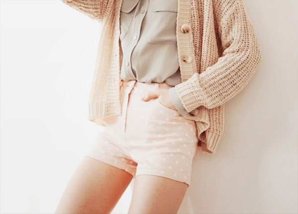 shorts pink light light pink small white spots spotty small white spots high waisted sweater blouse cardigan coat cream off-white polka dots
