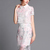 White Short Sleeve Floral Organza Two Pieces Dress - Sheinside.com