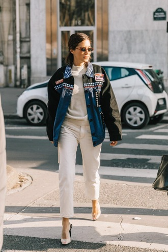 jeans white jeans sweater white sweater jacket black jacket shoes sunglasses heels high heels streetstyle