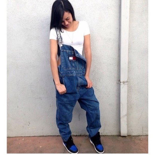 b0589546aad jeans jumper overalls tommy hilfiger white denim vintage bag tommy hilfiger  overalls vintage jumpsuit dungerees jumpsuit