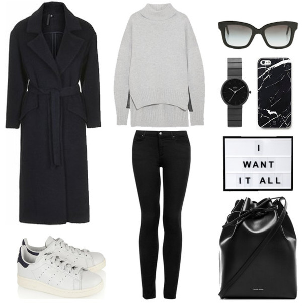 fashion landscape blogger sunglasses black coat winter outfits grey sweater turtleneck black jeans leather backpack marble white sneakers