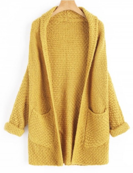 cardigan girly yellow mustard knitwear knit knitted cardigan long long cardigan