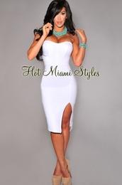 dress split all white midi,dress