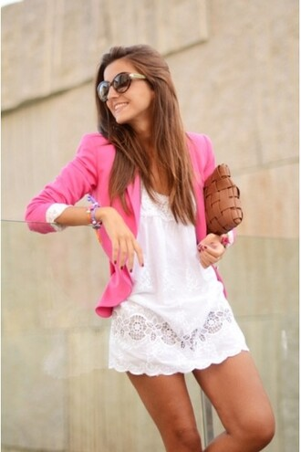 jacket e's closet pink blazer pink blazer cute girly stand out fashionista fashionable jacket perfect combination city girl