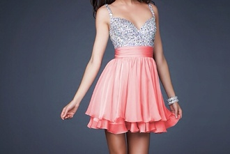 dress sparkly pink short homecoming dress