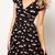 Woman V Neck Short Sleeve Swan Printed Dress