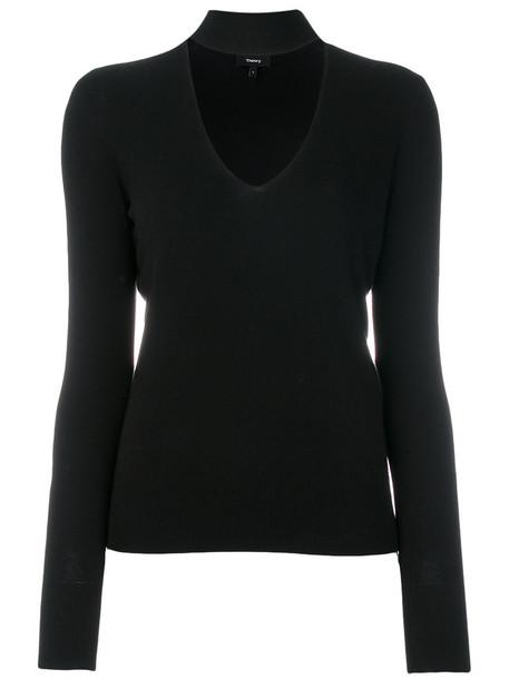 theory sweatshirt long open women black silk sweater