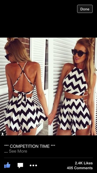 top cute black white shorts summer spring style zigzag summer top spring break dress