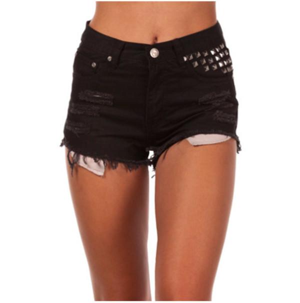 black shorts studded shorts studded studs