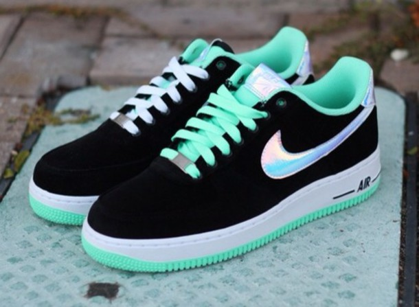 shoes nike nike air force holographic black turquoise sneakers nike air  nike air force 1 nike 6c6411d77