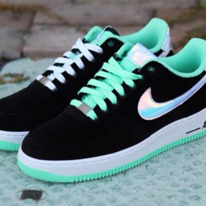 shoes nike black sneakers turquoise nike air air force hologram nike