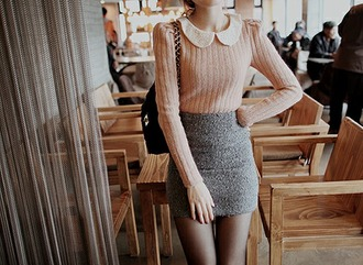 sweater dusty pink peter pan collar pencil skirt grey grey skirt