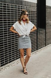skirt,mini skirt,gingham skirt,tie front shirt,shirt,sandals,blogger,blogger style
