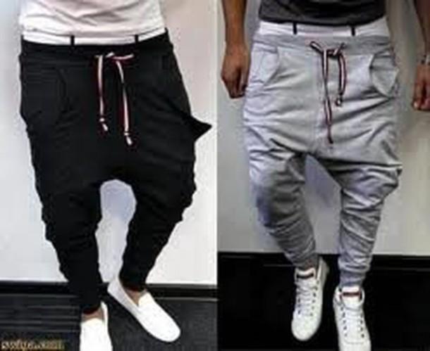pants pantalons sportswear gris noir swag mec mens. Black Bedroom Furniture Sets. Home Design Ideas