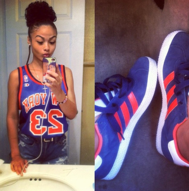 shoes india westbrooks adidas sneakers blue orange stripes jersey 23 shorts nba basketball new york city cross necklace white tank top