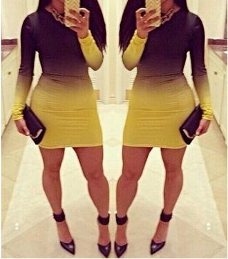 dress black and yellow bodycon dress make-up
