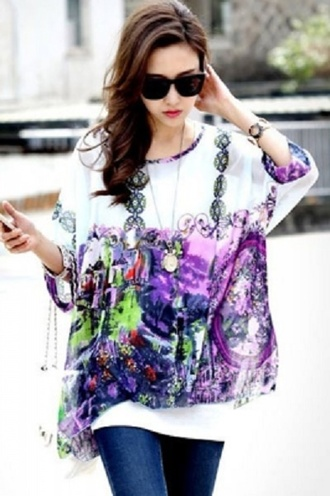 blouse pink print chic wots-hot-right-now purple boho colorful casual