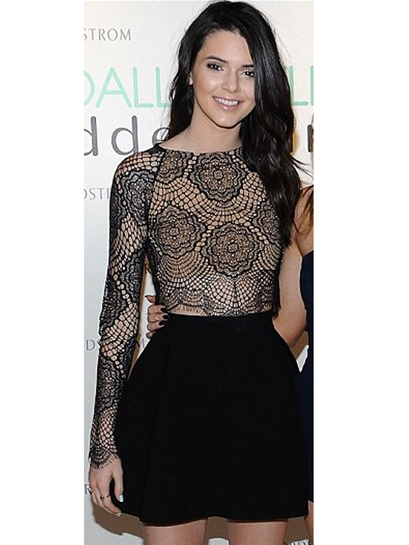 For Love & Lemons Grace Crop Top in Black as seen on Kendall Jenner