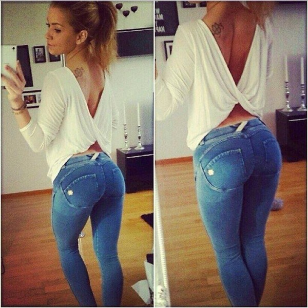 jeans blouse white loose pretty feminine cagebackpanties butt draped back vneck top leggings push up jeans push up push up pants denim