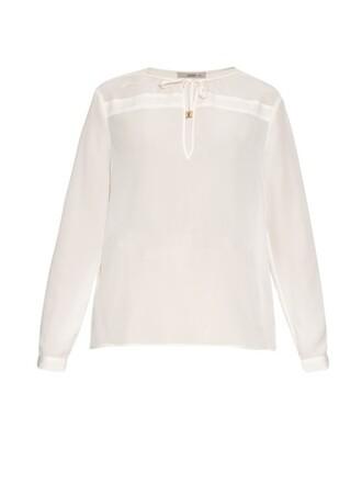 blouse long silk white top