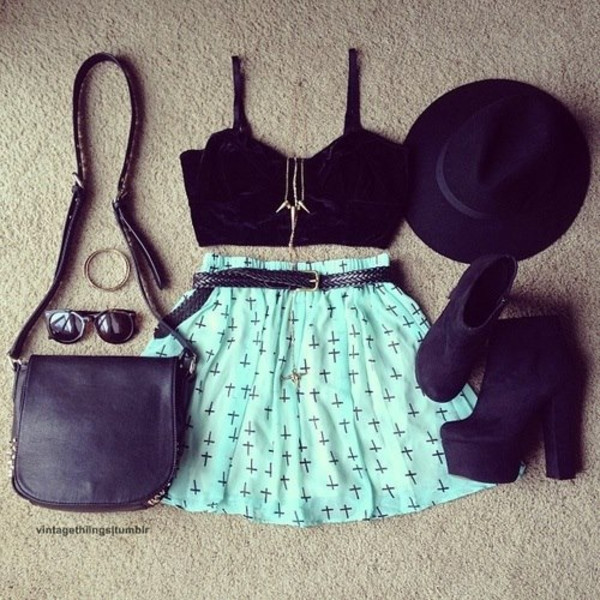 skirt blue skirt hat bag sunglasses bracelets blouse cross black light blue shoes necklace jewels shirt