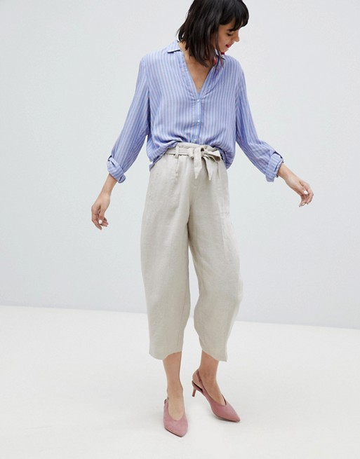Esprit Linen Mix Cropped Wide Leg Pants at asos.com