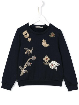 sweatshirt girl embroidered toddler blue sweater