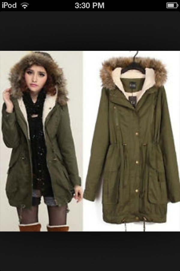 Coat: winter coat, fur trim, fur hood, hunter green - Wheretoget